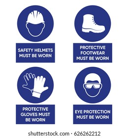 Mandatory health safety signs used in industrial applications