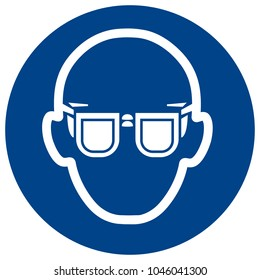 Mandatory sign vector - Wear glasses. Eye protection must be worn symbol, label, sticker
