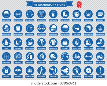 mandatory signs, construction health, safety sign used in industrial applications (safety helmet, gloves, ear protection, eye protection, foot protection, hairnet, respirator, mask, antistatic, apron)