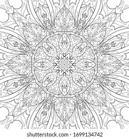 mandela adult coloring book, antistress flowers indian pattern