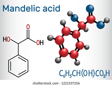Mandelic acid molecule. Structural chemical formula and molecule model. Vector illustration