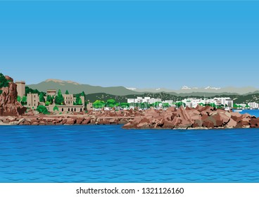 Mandelieu-la-Napoule, Alpes Maritime, French Riviera, South of France Vector with blue sea, 14th century castle, boats, mountains and apartment buildings