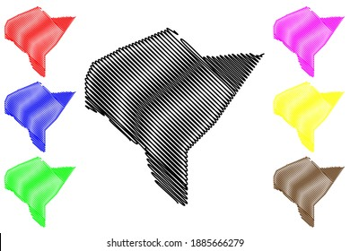 Mandera County (Republic of Kenya, North Eastern Province) map vector illustration, scribble sketch Mandera map