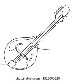 Mandolin one continuous line drawing music instrument