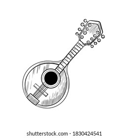 Mandolin stylized graphic arts hand drawn vector sketch icon isolated on background