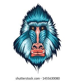 Mandrill Head illustration vector art