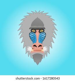 Mandrill Monkey Head Mascot. vectors