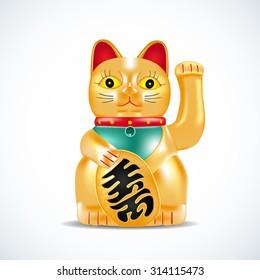 Maneki neko, golden cat. Japanese golden little sculpture. Lucky cat. Vector illustration.