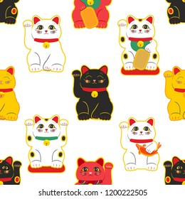 Maneki Neko. Happy cat. Seamless pattern. Vector.
