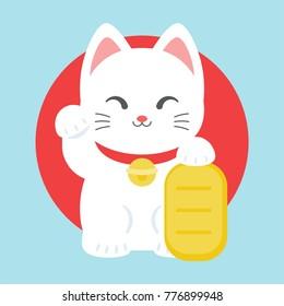 Maneki neko icon, japan lucky charm