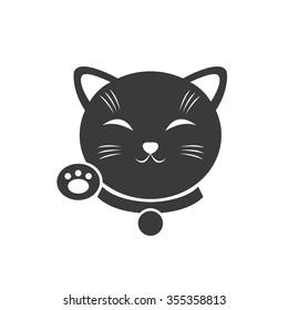 maneki neko icon. vector illustration