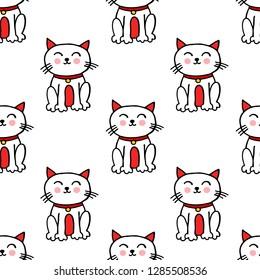 maneki neko seamless doodle pattern