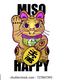 Maneki Neko wishes love and happiness. Vector illustration of a cute traditional east Asian cat.