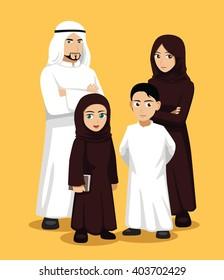 Manga Arab Family Cartoon Vector Illustration