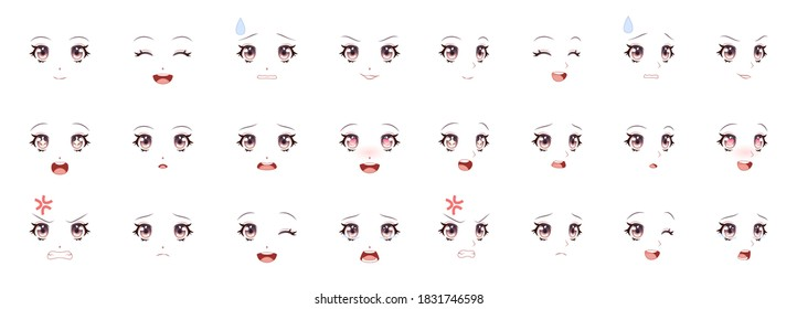 Manga expression. Girl eyes, mouth, eyebrows anime woman faces. Female character in cartoon japanese or korean kawaii style various emotions collection people feelings symbol comic vector isolated set
