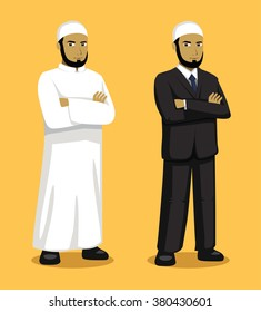 Manga Muslim Man Cartoon Vector Illustration