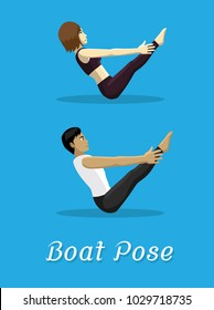 Manga Style Cartoon Yoga Boat Pose