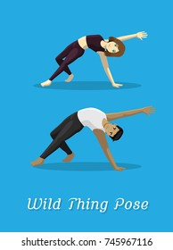 Manga Style Cartoon Yoga Wild Thing Pose