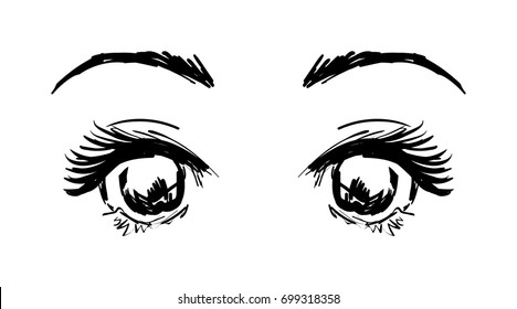 Manga style eyes sketch black on white background