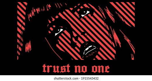 manga style face with slogan vector design for t-shirt graphics, banner, fashion prints, slogan tees, stickers, flyer, posters and other creative uses