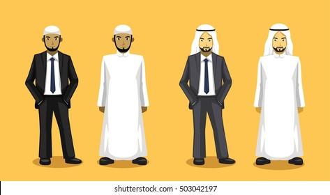 Manga Various Muslim Man Cartoon Vector Illustration 1