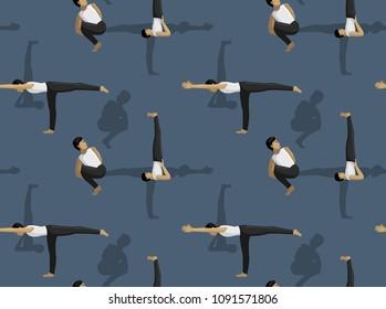 Manga Yoga Man Noose Pose Background Seamless Wallpaper