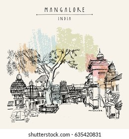 Mangalore, Karnataka, India. Temple square. Hindu temples and holiday cars. Rickshaw stand. big tree. Travel sketch. Vintage hand drawn postcard template. Vector