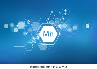 Manganese. Scientific medical research, the effect on human health. The designation of Manganese in the periodic table.