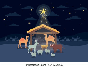 manger animals with cradle in wooden stable vector illustration design