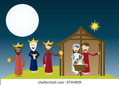 manger with magi over landscape night. vector