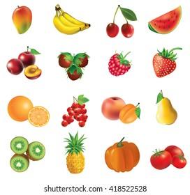 mango, banana, cherry, watermelon, plum, haselnuts,  strawberry, raspberry, orange, currant, apricot,  peach, pear, kiwi, pineapple, pumkin, tomato