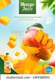 Mango bottled juice ads with liquid hand grabbing fruit on blue sky in 3d illustration