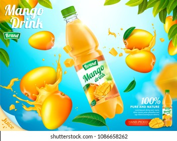 Mango bottled juice with fresh fruits and splashing liquid in 3d illustration, bokeh blue sky background