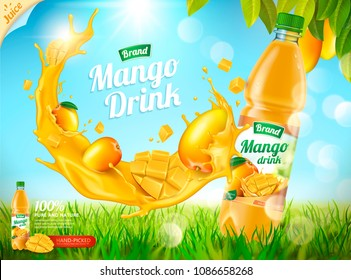 Mango bottled juice with fresh fruits and splashing liquid in 3d illustration, bokeh grassland background