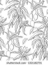 Mango branches seamless pattern. Black and white hand-drawn graphics.