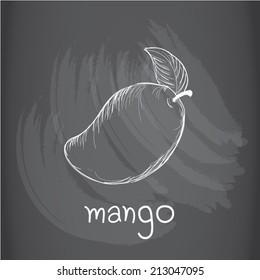 Mango drawing on chalkboard
