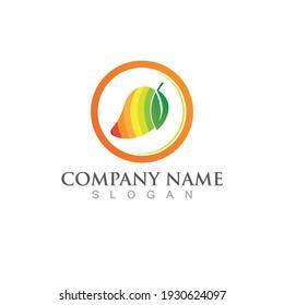 mango fruit logo and symbol vector