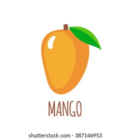 Mango icon in flat style. Isolated object.  Mango logo. Vector illustration on white background
