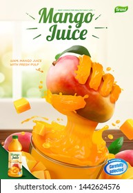 Mango juice ads with liquid hand grabbing fruit from a glass cup in 3d illustration