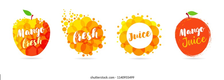 Mango juice label splash set design. Yellow and red drops bubbly logo on white background. Mango, apple and papaya juice design, creative vector illustration