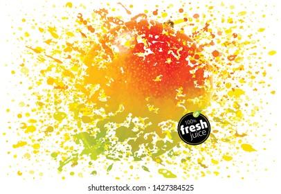 Mango juice splash. Fresh fruit and splashes. A blast of fresh fruit taste. Tropical juicy splatter. White background, EPS10 Illustration