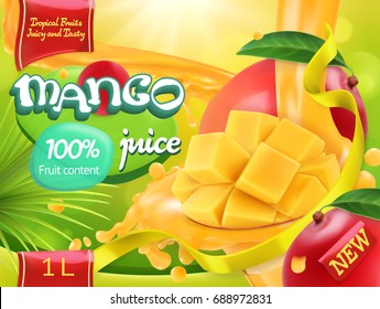 Mango juice. Sweet tropical fruits. 3d realistic vector, package design