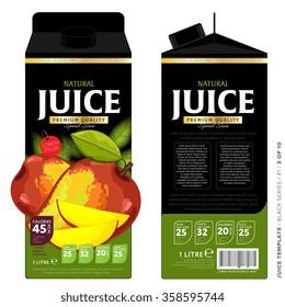 Mango juice template packaging design vector illustration. Layout of mango juice pack isolated on white background.