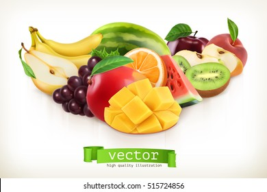 Mango and juicy fruits, vector illustration isolated on white