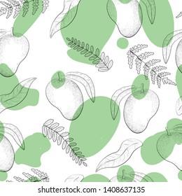 mango marks seamless botanical vector pattern. Concept for menu, web design, textile, print