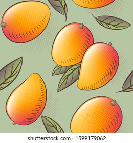 Mango seamless pattern. Mango fruits with leaves. Engraved style vintage botanical background. Can be use for design menu, packaging, recipes, market products.