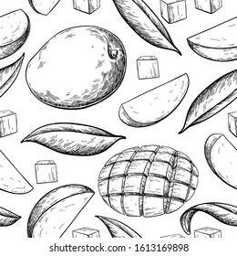 Mango seamless pattern. Vector drawing. Hand drawn tropical fruit illustration. Engraved summer fruit. Whole and sliced objects with leaves. Botanical vintage sketch