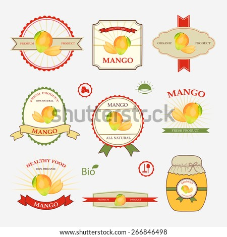 Mango Set Label Design Templates Vector Stock Vector (Royalty Free ...