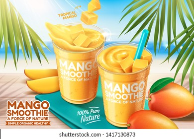 Mango smoothie ads with fresh fruit on bokeh beach background in 3d illustration