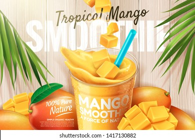 Mango smoothie ads with fresh fruit on wooden plate in 3d illustration